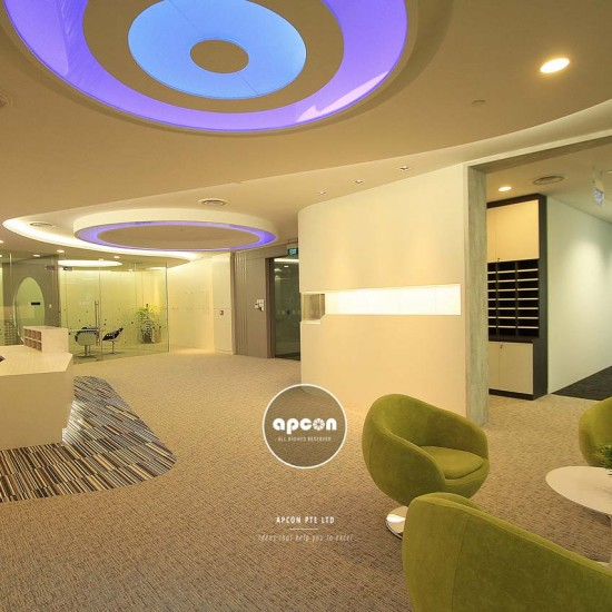 Office Interior Design and Renovation Singapore - Asia Square Tower Office - Office Reception 1